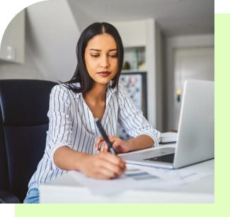 Woman doing research about her retirement on the computer