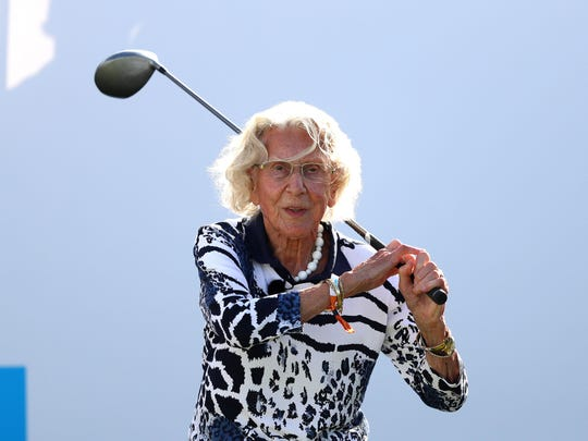 Susan Hosang, who is 100 years old, plays a tee shot on the 13th hole the first round of the KLM Open Sept. 12, 2019 in the Netherlands. Photo: Dean Mouhtaropoulos/Getty Images